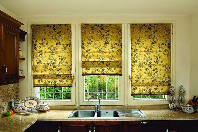 Kitchen Window Curtains And Blinds Made Of Floral Yellow